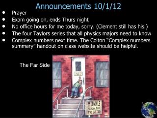 Announcements 10/1/12