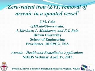 Zero-valent iron (ZVI) removal of arsenic in a spouted vessel †