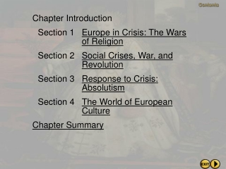 Chapter Introduction Section 1 Europe in Crisis: The Wars  of Religion