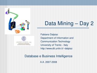 Data Mining – Day 2