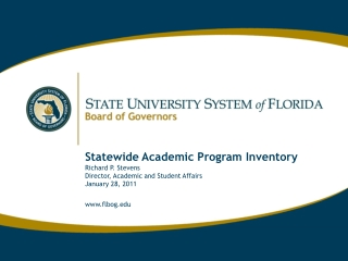 Statewide Academic Program Inventory  Richard P. Stevens