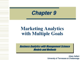 Marketing Analytics  with Multiple Goals