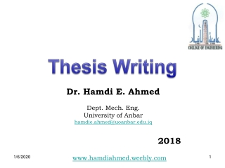 Dr. Hamdi E. Ahmed Dept. Mech. Eng. University of Anbar hamdie.ahmed@uoanbar.iq 					2018