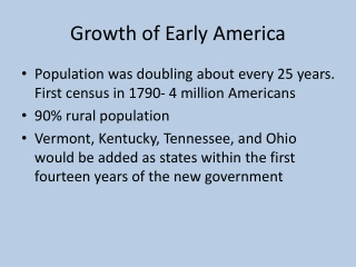 Growth of Early America