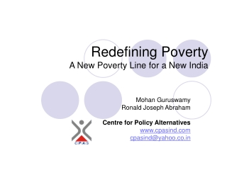 Redefining Poverty A New Poverty Line for a New India