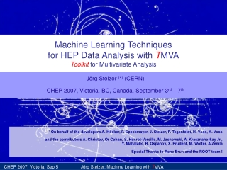 Machine Learning Techniques for HEP Data Analysis with  T MVA Toolkit  for Multivariate Analysis