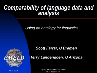 Comparability of language data and analysis