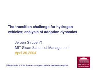 The transition challenge for hydrogen vehicles; analysis of adoption dynamics