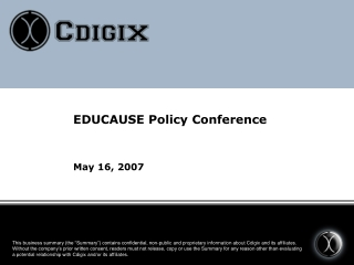 EDUCAUSE Policy Conference May 16, 2007