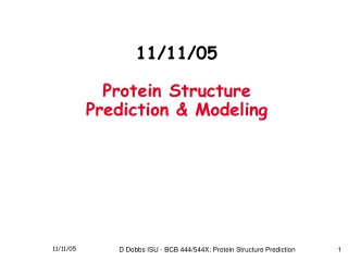 11/11/05 Protein Structure Prediction & Modeling