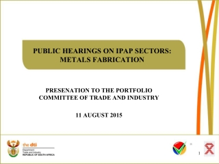 PUBLIC HEARINGS ON IPAP SECTORS: METALS FABRICATION