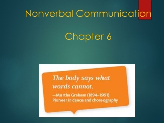 Nonverbal Communication Chapter 6