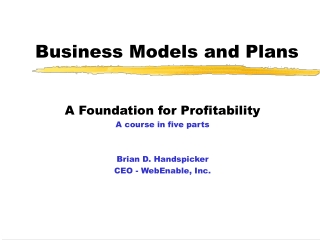 Business Models and Plans