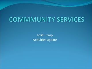 COMMMUNITY SERVICES