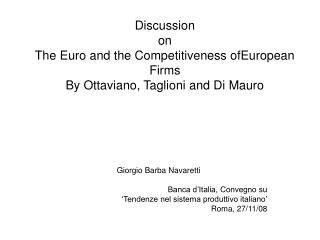 Giorgio Barba Navaretti Banca d'Italia, Convegno su  'Tendenze nel sistema produttivo italiano'