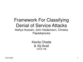 Kavita Chada & Viji Avali CSCE 790