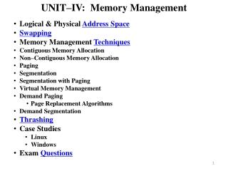 UNIT–IV: Memory Management