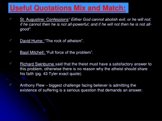 Useful Quotations Mix and Match: