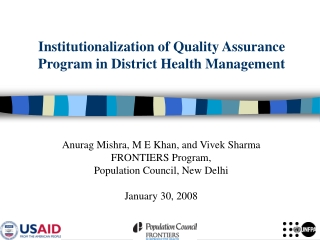 Institutionalization of Quality Assurance Program in District Health Management