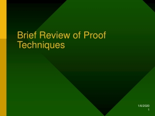 Brief Review of Proof Techniques