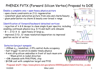 PHENIX FVTX (Forward Silicon Vertex) Proposal to DOE