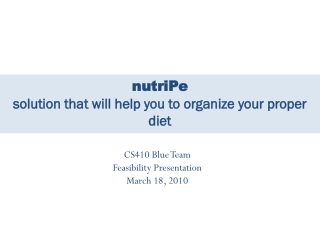 nutriPe solution that will help you to organize your proper diet
