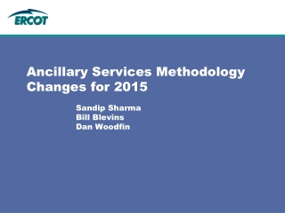 Ancillary Services Methodology Changes for 2015