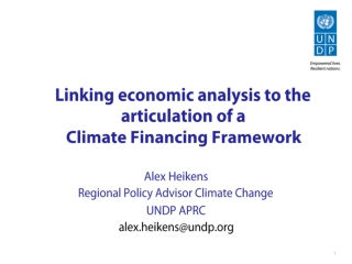 Linking economic analysis to the articulation of a  Climate Financing Framework