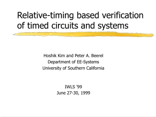 Relative-timing based verification of timed circuits and systems