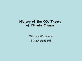 History of the CO 2  Theory of Climate Change