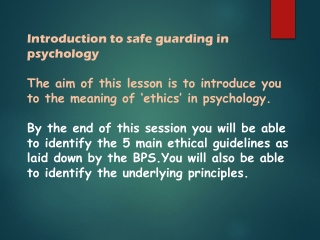 Introduction to safe guarding in psychology