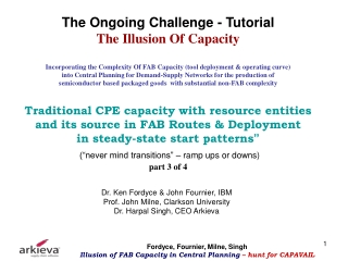 Hunt for CAPAVAIL (& CAPREQ)  in FAB Routes and Deployment