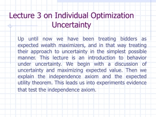 Lecture 3 on Individual Optimization Uncertainty