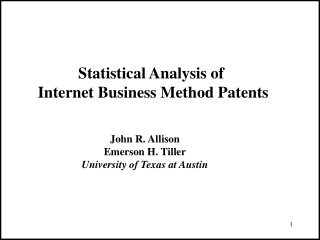 Statistical Analysis of  Internet Business Method Patents