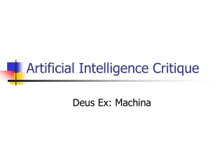 Artificial Intelligence Critique