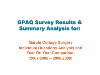 GPAQ Survey Results & Summary Analysis for: