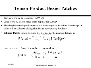 Tensor Product Bezier Patches