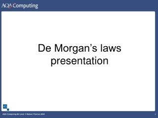 De Morgan's laws presentation