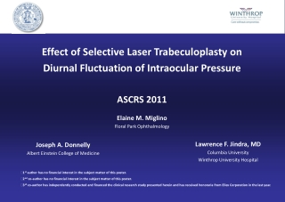 Effect of Selective Laser Trabeculoplasty on  Diurnal Fluctuation of Intraocular Pressure