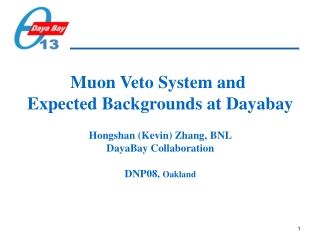 Muon Veto System and  Expected Backgrounds at Dayabay Hongshan (Kevin) Zhang, BNL
