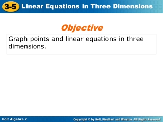 Graph points and linear equations in three dimensions.