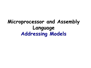 Microprocessor and Assembly Language Addressing Models