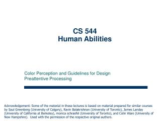 CS 544  Human Abilities