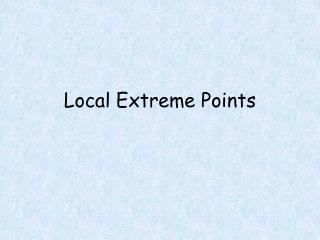 Local Extreme Points