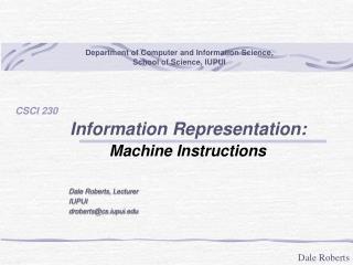 Information Representation: Machine Instructions
