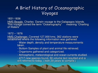 A Brief History of Oceanographic Voyages