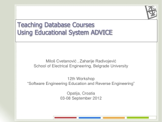 Teaching Database Courses  Using Educational System ADVICE