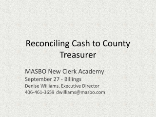 Reconciling Cash to County Treasurer