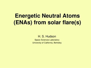 Energetic Neutral Atoms (ENAs) from solar flare(s)