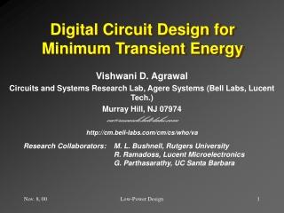 Digital Circuit Design for Minimum Transient Energy